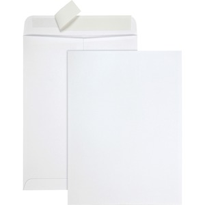"Quality Park Tech-No-Tear Paper Side Out Envelope - #10 1/2 (9"" x 12"") - Self-sealing - Paper - 100 / Box - White"