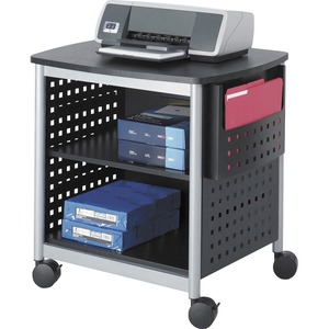 Safco Scoot Printer Stand - Steel - Silver, Black