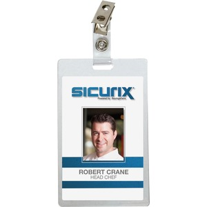 "Baumgartens Self-Laminating Name Badge Kit - 2.12"" x 3.37"" - 25 / Pack - Clear"