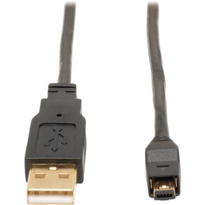 6FT USB2.0 A TO 4-PIN M/M MINI B GOLD CABLE BLACK