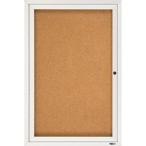Acco Brands Corporation Quartet® Enclosed Cork Bulletin Board For Indoor Use, 2 X 3, 1 Door, Aluminum Frame - 36 Height X 24 Width - Brown Natural Cork Surface - Silver Aluminum Frame - 1 / Each