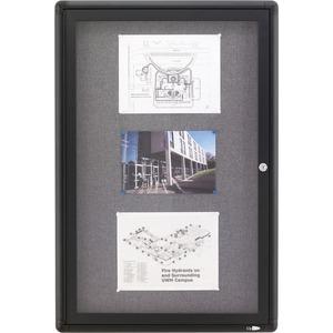 Acco Brands Corporation Quartet® Enclosed Radius Fabric Bulletin Board, 2 X 3, 1 Door, Graphite Frame - 36 Height X 24 Width - Gray Fabric Surface - Graphite Frame - 1 / Each