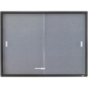 "Quartet Indoor Use Bulletin Board - 36"" x 48"" - Fabric Surface - Gray"