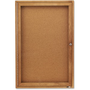 Quartet Bulletin Board - 3ft x 2ft - Cork Surface - Oak Frame - Gray