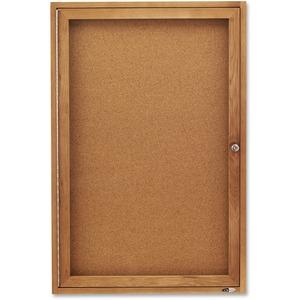 Acco Brands Corporation Quartet® Enclosed Cork Bulletin Board For Indoor Use, 2 X 3, 1 Door, Oak Frame - 36 Height X 24 Width - Brown Natural Cork Surface - Oak Frame - 1 / Each