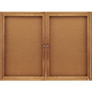 Quartet Bulletin Board - 3ft x 4ft - Cork Surface - Oak Frame - Gray
