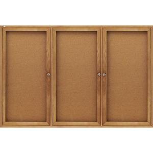Quartet Oak Frame Bulletin Board - 4ft x 6ft - Cork Surface - Oak Frame - Gray