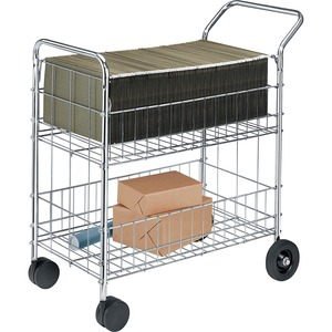 "Fellowes Wire Mail Cart - 200 lb Capacity - 2 x 10"", 2 x 4"" Caster - Steel - 22.25"", 17"" x 38.5"", 18"" x 39"" - Silver, Chrome"