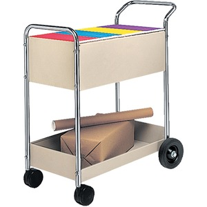"Fellowes Mail Cart - 2 Shelf - 2 x 10"", 2 x 4"" Caster - Steel - 16.25"" x 38"" x 39"" - Gray, Silver, Chrome"