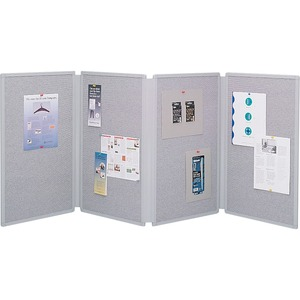 Acco Brands Corporation Quartet® Tabletop Display Board, 6 X 2 1/2, 4 Panels, Double-sided, Gray - 30 Height X 72 Width - Gray Fabric Surface - 4 - 1 Each