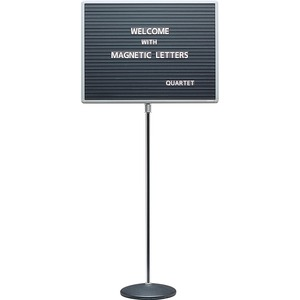 "Quartet Adjustable Standing Magnetic Letterboard - 18"" x 24"" - Magnetic Surface - Chrome Frame - Gray"