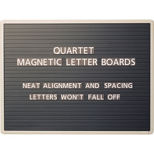 "Quartet Magnetic Letter Message Board - 24"" x 36"" - Magnetic Surface - Aluminum Frame - Black"