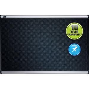 Acco Brands Corporation Quartet® Prestige® Embossed Foam Bulletin Board, 4 X 3, Aluminum Frame - 36 Height X 48 Width - Black Foam Surface - Silver Aluminum Frame - 1 Each