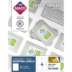 Chartpak, Inc Maco White Laser/ink Jet Shipping Label - 5 1/2 Width X 4 1/4 Length - Rectangle - Laser, Inkjet - White - 4 / Sheet - 400 / Box