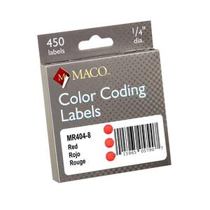 Maco Color Coding Label - 0.25&quot; Diameter - Permanent - 450 / Box - Red
