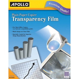 "Apollo Plain Paper Copier Transparency Film - Letter - 8.5"" x 11"" - 100 / Box - Clear"