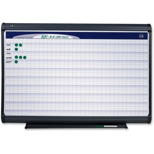 "Quartet Magnetic Grid Planner - 72"" x 48"" - Porcelain - Graphite"