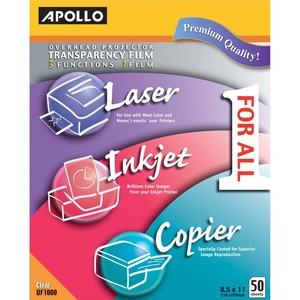 "Apollo Multi-Function Universal Transparency Film - Letter - 8.5"" x 11"" - 50 / Box - Clear"