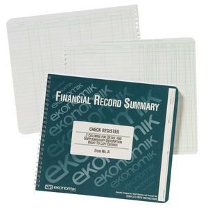 Image for Ekonomik Check / Deposit Register - 40 Sheet(S) - Wire Bound - 10 X 8 3/4 Sheet Size - White Sheet(S) - Green Print Color - Recycled - 1 Each