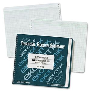 "Ekonomik Wirebound Check Registers Accounting System - 40 Sheet(s) - Wire Bound - 8.75"" x 10"" Sheet Size - White - 1Each"