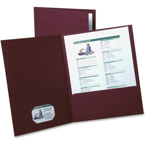 "Oxford Oxford Twin Pocket Folder - Letter - 8.5"" x 11"" - 5 / Pack - Burgundy"