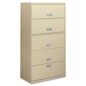 "HON 600 Series 36"" Lateral File - 36"" x 19.25"" x 67"" - Steel, Aluminum - 5 x Shelf(ves) - 5 x File Drawer(s) - Legal, Letter - Security Lock, Leveling Glide - Putty"