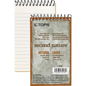 "Tops Second Nature 1-Subject Notebook - 50 Sheet(s) - Narrow Ruled - 3"" x 5"" - 1 Each - White"