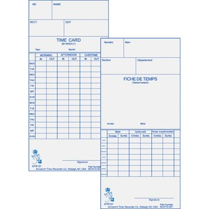 Acroprint Weekly/Bi-Weekly Time Card ACP099110000