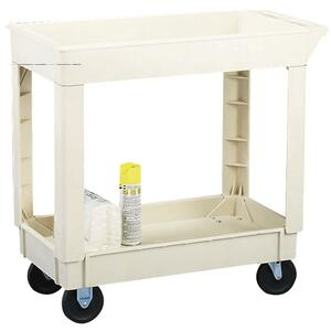 "Continental Two Shelf Utility Cart - 2 Shelf - 400 lb Capacity - 4 - 17.5"" x 33"" x 34.37"" - Beige"