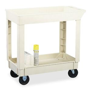 "Continental Two Shelf Utility Cart - 2 Shelf - 400 lb Capacity - 4 - 40"" x 25.5"" x 33"" - Beige"
