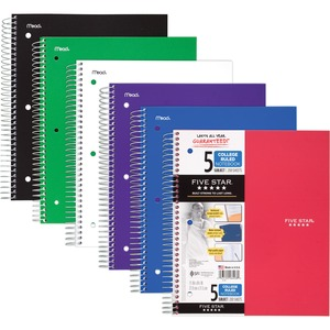 "Mead Five Star 5-Subject Notebook - 200 Sheet(s) - College Ruled - 11"" x 8.5"" - 1 Each - White"