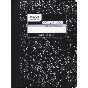 "Mead Square Deal Composition Book - 100 Sheet(s) - Wide Ruled - 7.5"" x 9.75"" - 1 Each - White"