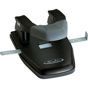 Swingline Comfort Handle Two-Hole Punch - 2 Punch Head(s) - Adjustable - 28 Sheet Capacity - 0.25&quot; - Black