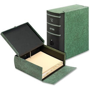 "Globe-Weis Eclipse File Box - Letter - External Dimensions 4.62"" Height x 10.81"" Width x 11.62"" Depth - Fiberboard - Green"