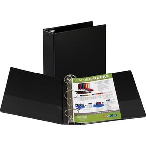 "Samsill Suede Embossed Value Ring Binder - Letter - 8.5"" x 11"" - 3"" Capacity - 1 Each - Black"
