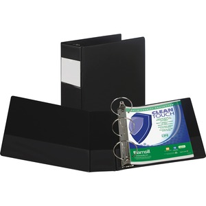"Samsill Antimicrobial Locking Round Ring Binder - Letter - 8.5"" x 11"" - 4"" Capacity - 1 Each - Black"