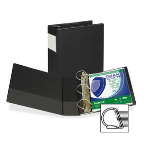 "Samsill Antimicrobial D-Ring Binder With Label Holder - Letter - 8.5"" x 11"" - 4"" Capacity - 1 Each - Black"
