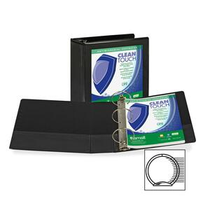 "Samsill Antimicrobial Insertable Round Ring Binder - Letter - 8.5"" x 11"" - 4"" Capacity - 1 Each - Black"