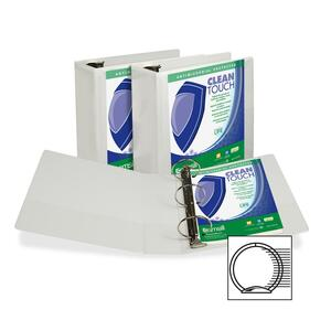 "Samsill Antimicrobial Insertable Round Ring Binder - Letter - 8.5"" x 11"" - 4"" Capacity - 1 Each - White"