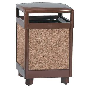 "United Receptacle Hinge Top Litter Receptacle - 144L Capacity - Square - 40"" Height x 26"" Width x 26"" Depth - Steel - Brown"