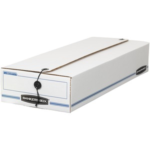 "Bankers Box Liberty Storage Box - Internal Dimension 4.25"" Height x 8.25"" Width x 23.25"" Depth x - External Dimensions 4.5"" Height x 8.37"" Width x 24"" Depth - Fiberboard, Plastic - White"