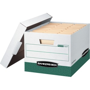 "Bankers Box R-Kive Storage Box - Letter, Legal - Internal Dimension 10"" Height x 12"" Width x 15"" Depth x - External Dimensions 10.37"" Height x 12"" Width x 16.75"" Depth - Green, White"