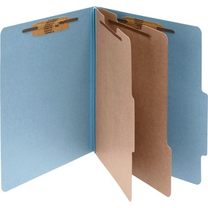 "Acco Classification Folder - Letter - 8.5"" x 11"" - 2 Divider - 3"" Capacity - 10 / Box - 25pt. - Sky Blue"