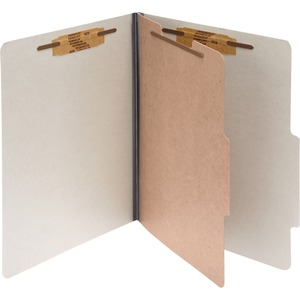 "Acco Classification Folder - Letter - 8.5"" x 11"" - 1 Divider - 2"" Capacity - 10 / Box - 25pt. - Mist Gray"