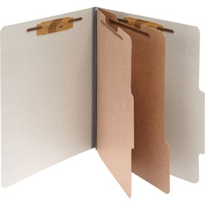 "Acco Classification Folder - Letter - 8.5"" x 11"" - 2 Divider - 3"" Capacity - 10 / Box - 25pt. - Mist Gray"
