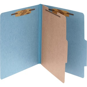 "Acco Classification Folder - Legal - 8.5"" x 14"" - 1 Divider - 2"" Expansion - 2"" Capacity - 10 / Box - 25pt. - Sky Blue"
