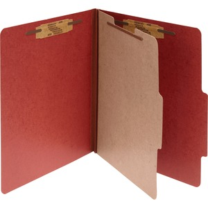 "Acco Classification Folder - Legal - 8.5"" x 14"" - 1 Divider - 2"" Expansion - 1"" Capacity - 10 / Box - 25pt. - Red"
