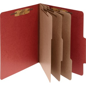 "Acco Classification Folder - Legal - 8.5"" x 14"" - 3 Divider - 4"" Expansion - 1"" Capacity - 10 / Box - 25pt. - Red"