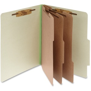 "Acco Classification Folder - Legal - 8.5"" x 14"" - 3 Divider - 4"" Expansion - 10 / Box - 25pt. - Green"