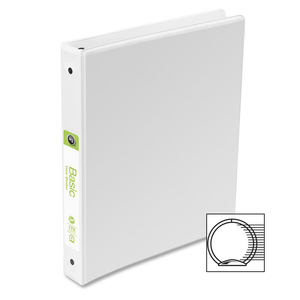 "Wilson Jones Round Ring View Binder with Label Holder - Letter - 8.5"" x 11"" - 1"" Capacity - 1 Each - White"
